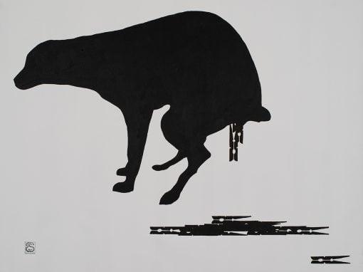 Perro cagando pinzas